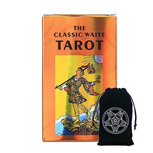 STFUSA Rider Waite Tarot, con Bolsillo Especial con Cordón para Cartas De Tarot, Adecuado para Entretenimiento De Amigos Y Reuniones Familiares 78 Hojas