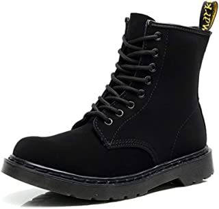Dr. Martin unisex boots High-top scrub boots couple leather short boots locomotive men and women shoes round head black tooling boots Waterproof and anti-skid design (Color : Black, Size : 44)