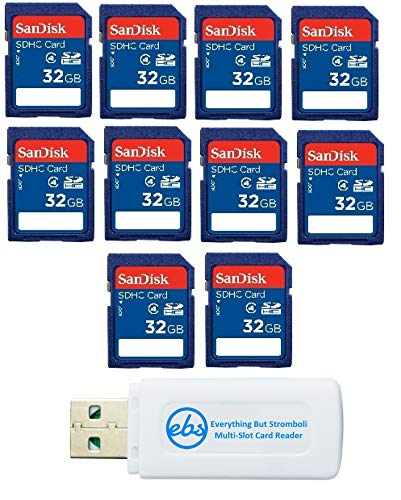 10 Pack SanDisk SD HC 32 GB Class 4 Flash Memory Card SDSDB-032G Retail SDHC - with Everything But Stromboli (tm) Combo Reader