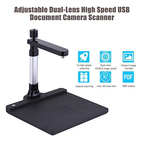For Sale! Scanner Adjustable HD High Speed USB Book Image Document Camera Dual Lens (10 Mega-Pixel &...