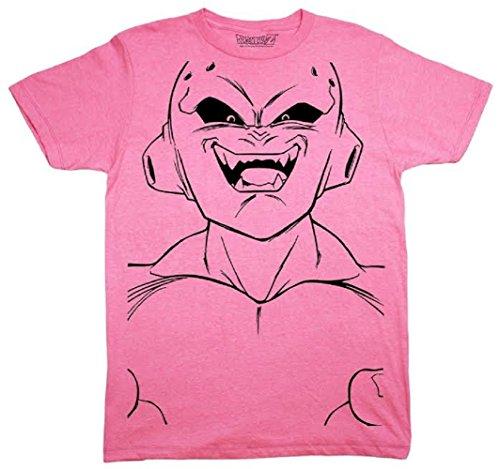 Dragon Ball Z Majin Buu Kid Buu Large Face Line Art Adult T-Shirt (X-Large) Heather Pink