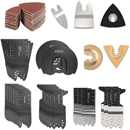 108tlg Oszillierendes Sägeblätter Kit,Sägeblätter Kit Mix Oszillierende Klingen Multi-Tool Zubehör für Metall/Holz/Kunststoff für Fein Multimaster Makita Einhell