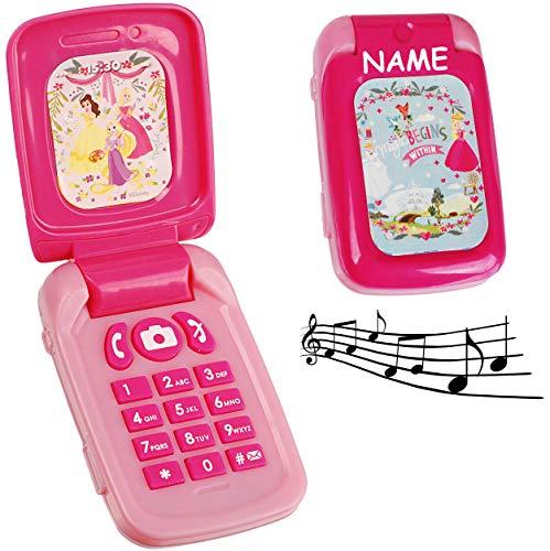 alles-meine.de GmbH elektrisches Handy mit Sound - Disney Princess - Prinzessin - incl. Namen - für Kinder / Mädchen - Maus - Auto Kinderhandy / Spielzeughandy - Spielzeugtelefon..