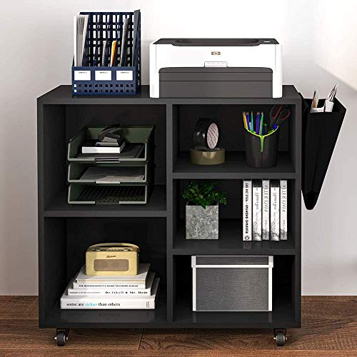 Hasuit Wood File Cabinet with Movable Casters, Home Office Rolling Filing Cabinet, Printer Stand Office Cabinet (Black)