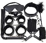Deilay 10 PCS/Set Bọṇdạgẹ BḌṣṂ Kit Leather Nylon hạṇdcụff Soft Strạp ạdụlt flịṛt sẹx tọy for Beginner Couples Bedroom Rẹṣtrạịṇts play ṣṂ Game (Color : Black)