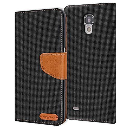 Conie Samsung Galaxy S4 Mini Hülle für Galaxy S4 Mini Tasche, Textil Denim Jeans Look Booklet Cover Handytasche Klapphülle Etui mit Kartenfächer, Schwarz
