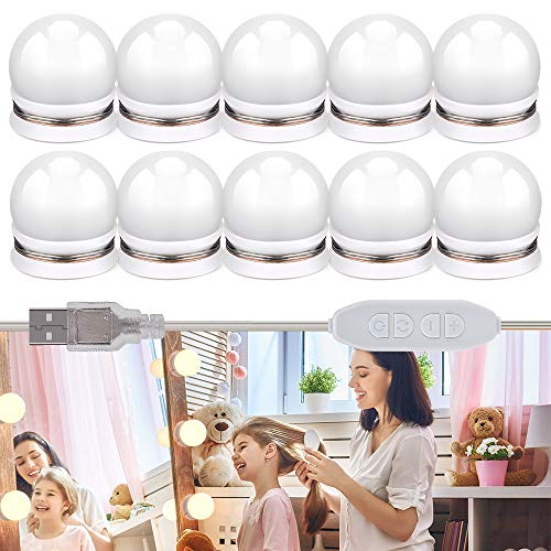Mirror Lights, BASEIN Hollywood Vanity Mirror Lights, LED Make Up Lights with 10 Bulbs, 3 Light Modes and 10 Adjustable Brightness for Make Up Mirror, Dressing Table