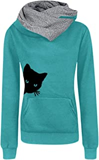 Women cat Sweatshirt Cute Printed Pullover Casual Hoodie Shirts Tops Blouse