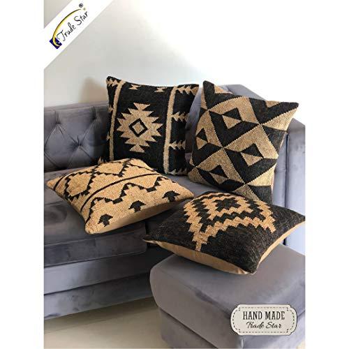 Trade Star - Juego de 4 fundas de cojín hechas a mano,cojín para decoración del hogar,funda de almohada decorativa Kilim,cojín cuadrado indio,Funda de almohada 18 'x 18' pulgadas