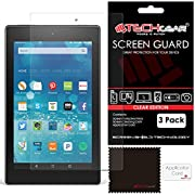 """TECHGEAR [Pack of 3] Screen Protectors for Amazon Fire HD 8 Tablet with Alexa - Clear Lcd Screen Protector for Fire HD 8"""" All Generations - With Cleaning Cloth + Application Card"""