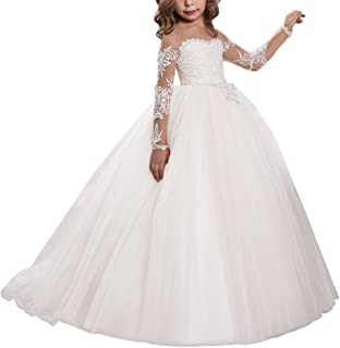 Lace Embroidery Sheer Long Sleeves Kids Trailing Gowns