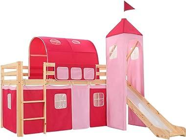 vidaXL Pin Lit Mezzanine d'enfants avec Toboggan et Echelle avec Sommier à Lattes Lit pour Tout Petits Fille Chambre à Co