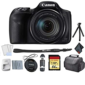 Canon PowerShot SX540 HS Digital Point and Shoot Camera Bundle with Replacement Battery + 64GB Memory Card + Flexible Tripod and More - International Version