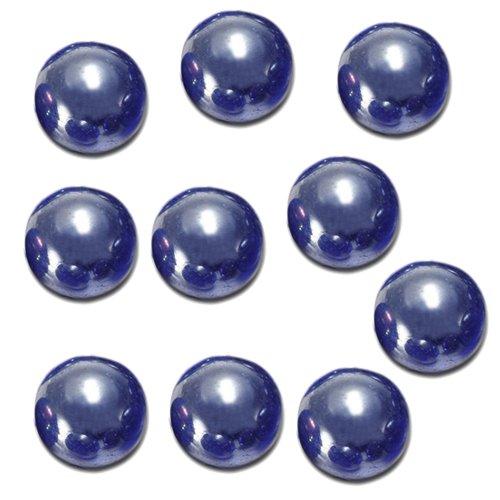 Dcolor 10pcs Bille Perle Ronde Verre Marbre Jeux Jouet Enfant Vase Aquarium Poisson Decoration Bleu Fonce