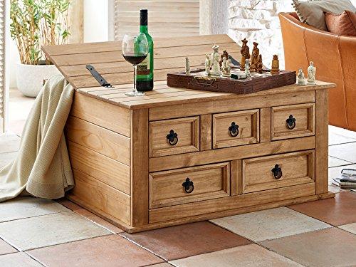 SAM Truhen-Tisch aus Kiefernholz, Mexico-Möbel, Couchtisch mit 5 Schubfächern & einem Stauraum, gewachst, Schwarze...