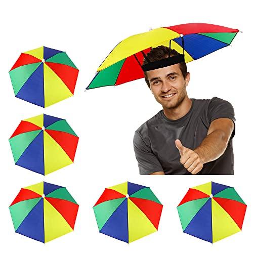 5 Pack Umbrella Hat with Elastic Band, Rainbow Waterproof Fishing Umbrella Hat for Adults Kids Women Men