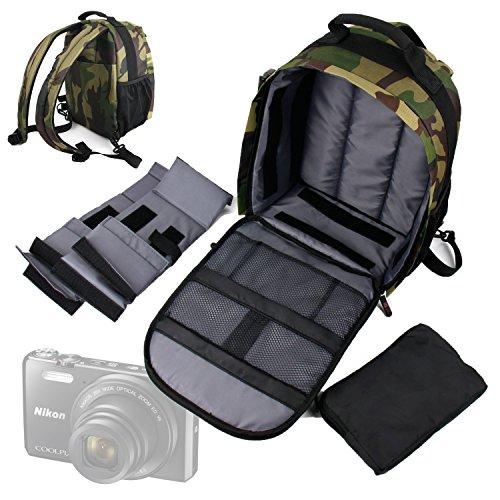 DURAGADGET Mochila Camuflaje para Cámara Reflex Nikon S9900 | Coolpix P900 | Panasonic DMC-GH4 | DMC-G7 | Sony Cyber-Shot DSC-RX100 con Compartimentos Desmontables + Funda Impermeable