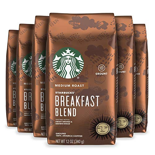 Starbucks Medium Roast Ground Coffee — Breakfast Blend — 100% Arabica — 6 bags 12 oz each