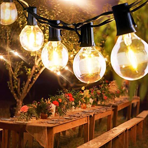 Parsion Lichterkette Außen,Lichterkette Glühbirnen Wasserdichte G40 9.5M 25 Birnen mit 3 Ersatzbirnen Lichterkette Glühbirnen Aussen Dekoration für Garten, Hochzeit Party,Weihnachten - Warmweiß