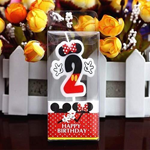 MOMO Candela di Compleanno Candela Topolino Minnie 0-9 Anniversary Cake Numbers Candela Age Forniture per Feste Decorazione, Minnie 2