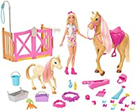Barbie Groom 'n Care Horses Playset Doll (Blonde 11.5-in), 2 Horses & 20+ Grooming and Hairstyling Accessories, Gift for 3 to 7 Year Olds [Amazon Exclusive]