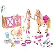 Barbie Groom 'n Care Horses Playset with Barbie Doll (Blonde 11.5 Inch), 2 Horses & 20+ Grooming an...