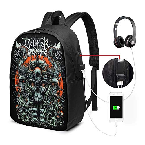 Lawenp Dethklok Laptop Backpack 17 Inch College School Backpack with USB Charging Port Casual Daypack for Travel