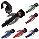 MRX BOXING & FITNESS Weight Lifting Bar Straps with Wrist Support Wraps in (Black)