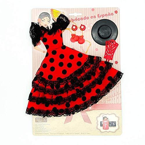 Folk Artesanía Set Vestido, Pendientes, Sombrero, peinetas y castañuelas Flamenca Andaluza para muñeca Barbie de Mattel. Muñeca no incluida (Rosa Lunar Blanco)