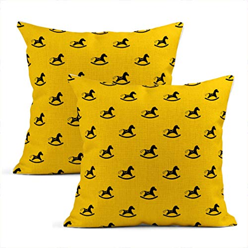 Zynii 20x20 Inch Pillowcase Yellow Rocking Horse Contemporary Art Style Decorate Your Room and Living Room to Bring You Comfort as a Gift for Relatives and Friends