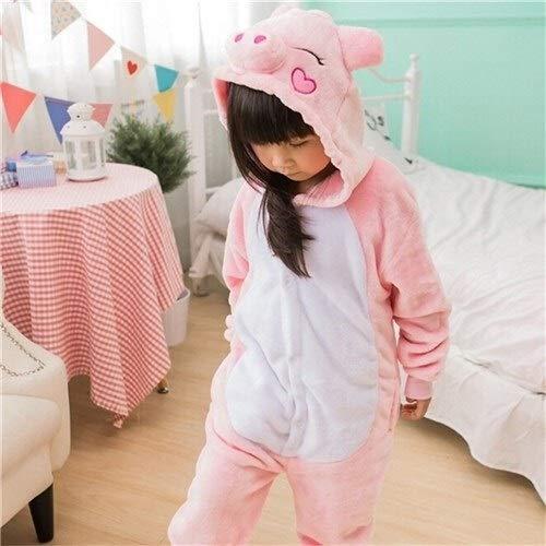 Einhorn Pyjama Jumpsuit Kinder Stich Kigurumi Pyjama Kid Junge Mädchen Anime Overall Tiger Pijama Baby Body Onepiece Tierbaby Nachtwäsche Cosplay (Color : D, Size : 6T)