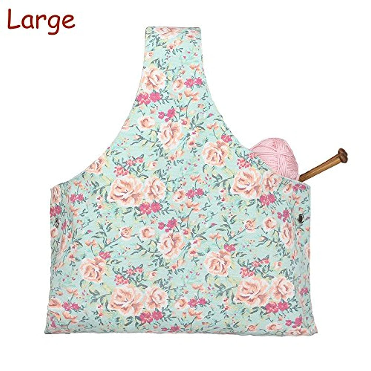 Knitting Tote Bag Yarn Storage Organizer for Large Projects, Sweet Floral (Large)