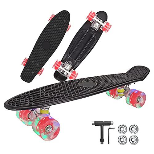 Skateboard Komplette, Penny Board 22 inch/55 cm Mini, Skateboard Kinder Retro mit ABEC-7 Kugellagern, LED-Lichträdern und Skate T Tool, für Anfänger Kinder, Jugendliche-4 Kugellager (Schwarz)