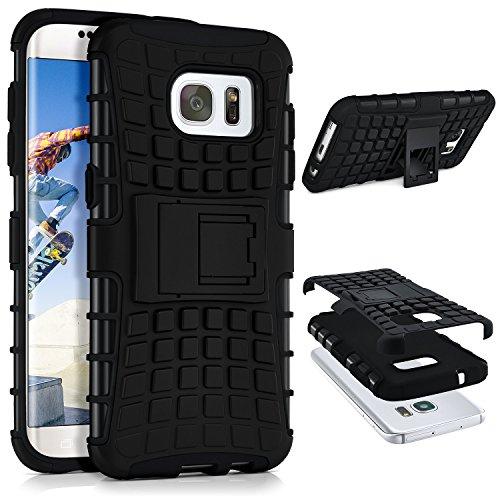 MoEx Caso del Tanque para Samsung Galaxy S7 Edge | Caso al Aire Libre con protección de Doble Capa | Bolsa de protección Celular OneFlow | De Vuelta en la Cubierta Negro