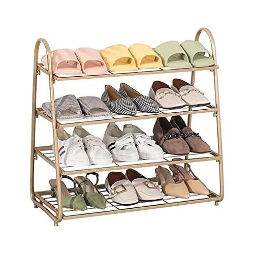 LGWZ Zapatillas Rack De 4 Capas Zapato De Zapatos Rack, Práctico Y Práctico, Resistente Y Duradero, Espacio Ahorrador, Adecuado para Puerta De Acceso (Dorado)