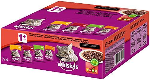 Whiskas Katzenfutter Nassfutter Adult 1+ Klassische Auswahl in Soße 80 x 100g Mega Pack