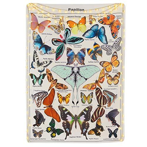 Schmettlingmotiv Wandteppich, 150 x 130cm Bunt Wandteppich mit Schmetterling Papillon, Beige Wandbehang Tuch für Schlafzimmer Wohnzimmer und Wohnheim, Tischdecke, Tapisserie Wandbehang, Beige