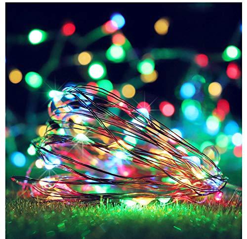 Lichtketting, feen, batterijvoeding, koperdraad, snoer, 8 LED's, koperdraad, snoer, box, kleur van de accu, zilverkleurig, decoratie, koperdraad, 5 m, 50 lichtjes wit