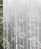 Película de Vidrio Esmerilado Opaco de privacidad de PVC de bambú Blanco Etiqueta de Vidrio autoadhesiva electrostática película de Vidrio para Puertas y Ventanas de casa I 45x200cm