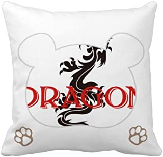 OFFbb-USA Animal Myth Oriental Western Dragons Bear - Funda de almohada cuadrada