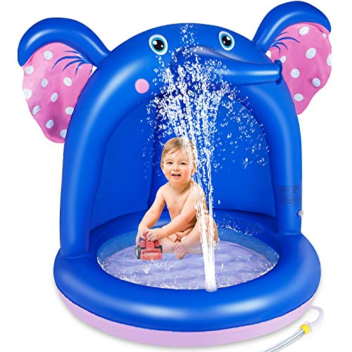 lenbest Piscina Inflable para Bebés, Hinchable Infantil, Elefante Splash Pool para Niños, Aspersor de Juego con Fondo de Burbuja Inflable de Doble Capa para Jardín/Piscina/Playa