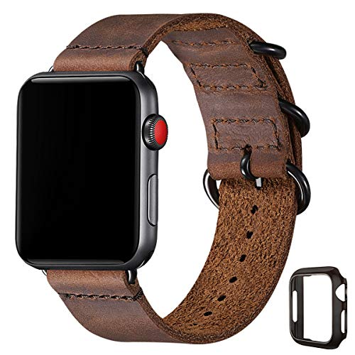 Vintage Leather Bands Compatible with Apple Watch band 38mm 40mm 42mm 44mm,Genuine Leather Retro Strap Compatible for Men Women iWatch SE Series 6/5/4/3/2/1(Brown+Black connector,42mm 44mm)