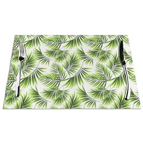 Bernice Winifred Pattern Fresh Green Tropical Kitchen Manteles Individuales para Mesa, Antideslizantes y Lavables, ecológicos, Ideales para la Cocina tamaño 45 * 30 * 0.1cm 1 PCS