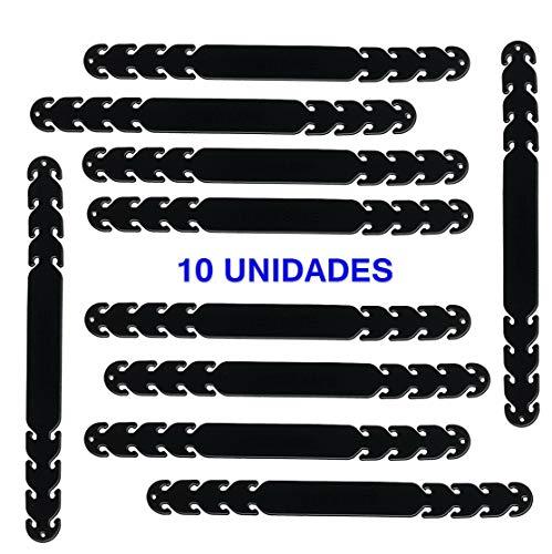 Protector de Orejas para Mascarillas – 10 Salvaorejas de Silicona PRIME con Ganchos para Ajuste (10 ADULTO-NEGRO)