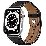YALOCEA Cinturino in pelle compatibile con Apple Watch, 45 mm, 44 mm, 42 mm, 41 mm, 40 mm, 38 mm, cinturino in pelle, compatibile con iWatch Series 7 6 5 4 3 2 1 SE (nero/argento, 45 mm, 44 mm, 42 mm)