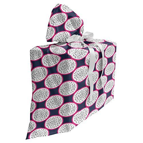 ABAKUHAUS Drachen Baby Shower Geschänksverpackung aus Stoff, Schmackhafte Hawaii Frucht-Scheiben, 3x Bändern Wiederbenutzbar, 70 x 80 cm, Rosa Schiefer-Blau