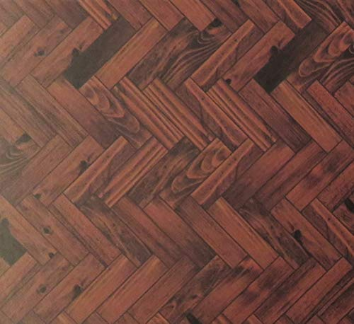 Melody Jane Dollhouse Parquet Floor Sheet Gloss Card Dark Oak Miniature 1:12 Flooring