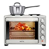 NETTA Electric Mini Oven 45L with Double Hotplate, Multiple Cooking Functions & Grill