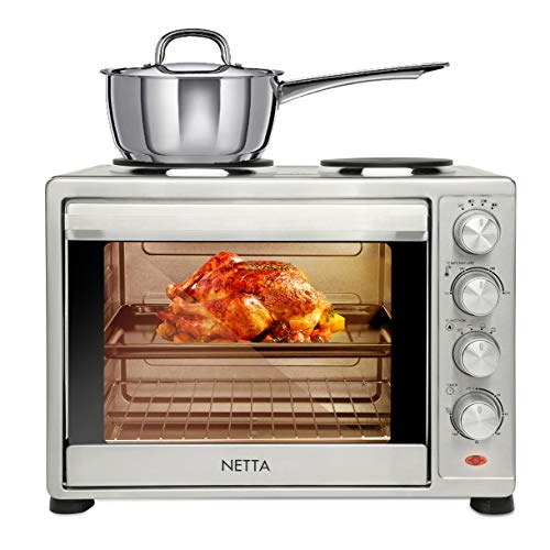 NETTA Electric Mini Oven 45L with Double Hotplate, Grill, Multiple Cooking Functions, Adjustable Temperature Control & Timer - 1500W