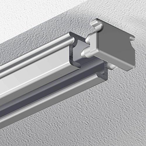 Garduna 120cm eckige Schleuderschiene Gardinenschiene Vorhangschiene, Aluminium, Silber eloxiert, 1-läufig - vorgebohrt!